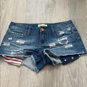 American flag blue jean shorts